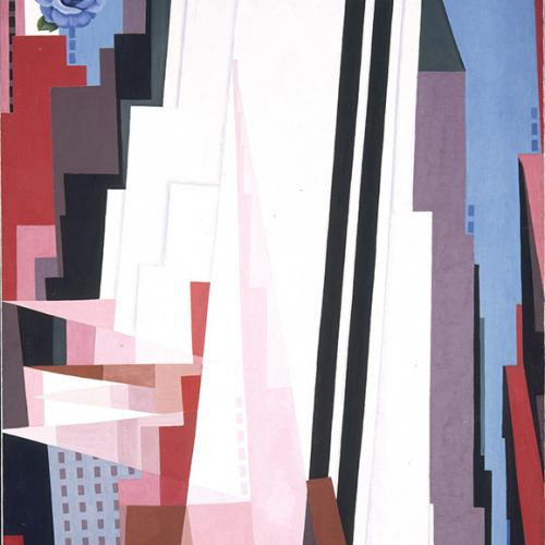 GEORGIA O'KEEFFE (AMERICAN, 1887-1986) MANHATTAN, 1932, OIL ON CANVAS, (84 3/8 X 48 1/4 IN.) SMITHSONIAN AMERICAN ART MUSEUM, GIFT OF THE GEORGIA O'KEEFFE FOUNDATION, 1995.3.1