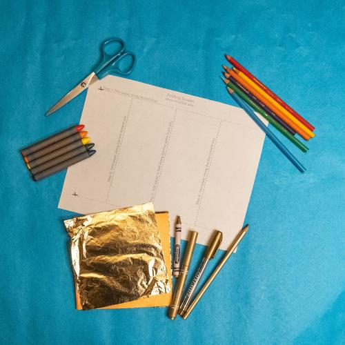 Art supplies for a Japanese mini screen, paper template, crayons, colored pencils, scissors, gold markers, crayon and pencil and gold leaf