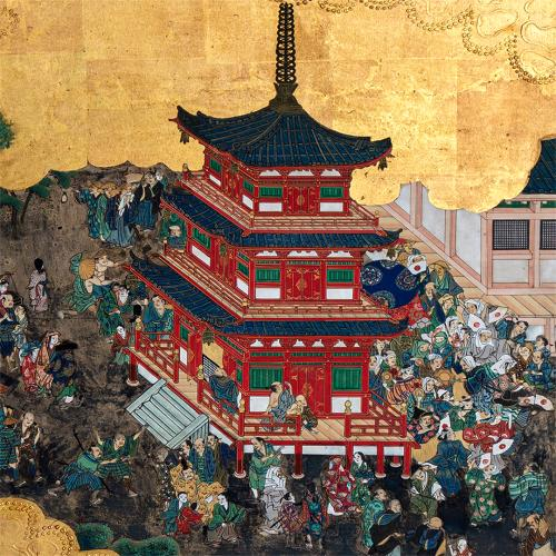 Detail of a pagoda within The Kiyomizu Temple folded screen. A red pagoda towers above a large group of people.