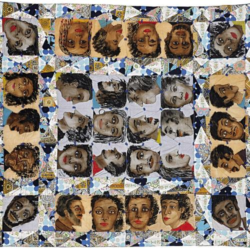 A quilt-like grid of painterly faces of black people