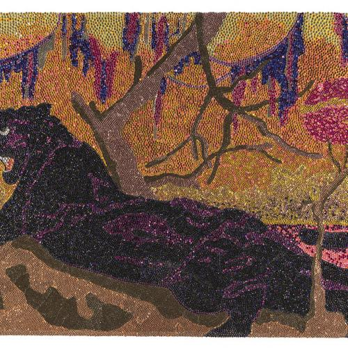A black panther lies in the center of the scene surrounded by branches and vines. The composition is formed in colored rhinestones
